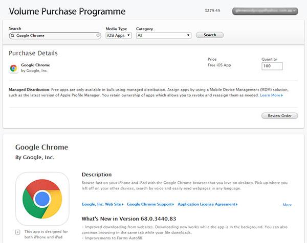Google Chrome on Volume Purchase Programme for Education