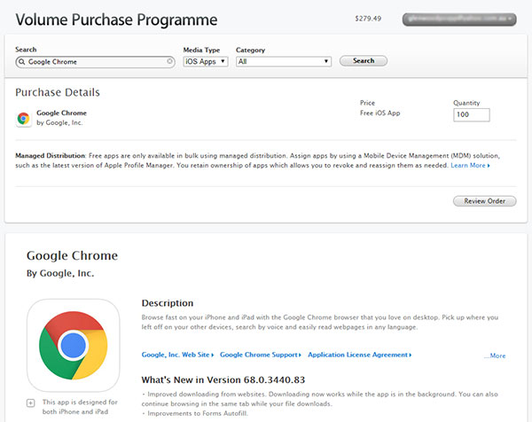 Google Chrome on Volume Purchase Programme for Education